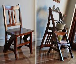 timber gany wooden folding library step ladder chair brand new