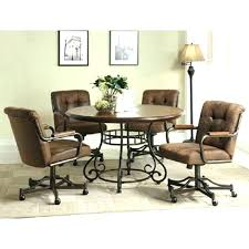 upholstered dining room chairs with casters cool rollers incredible ideas wheels splendid design leather kitchen