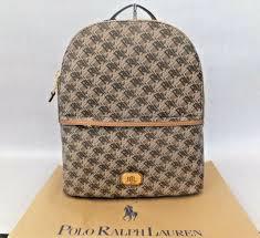 ralph lauren dobson tami lrl monogram faux leather brown backpack rrp 185