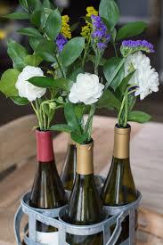 Spring Flowers in Wine Bottles