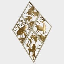 mid century animal wall art gold tone