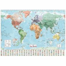 World Map Wall Sticker 100x70cm Large Poster Country Flags Chart Home Decoration