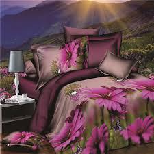 4pcs suit polyester fiber 3d purple chrysanthemum flower reactive dyeing bedding sets queen size