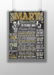 70th birthday party 70 years old birthday gift idea 1948