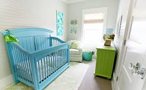 turquoise colored crib - Colorful crib ideas for the nursery - Design Dazzle