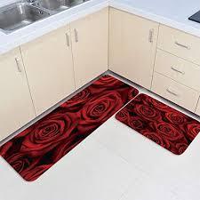 prime leader 2 piece non slip kitchen mat runner rug set doormat dark red rose flower door mats rubber backing carpet indoor floor