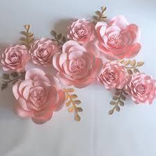 Diy Giant Paper Rose Flower Diy 8pcs Giant Paper Flowers 8pcs 7pcs Leaves Flores Artificiales Fleur Artificielle Wedding Event Backdrop Party Baby Nursery