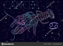 рак знак зодиака знак и созвездие символ на космические синем фоне с