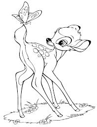 Disegno Di Bambi E La Farfalla Da Colorare Per Bambini