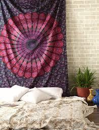 purple mandala wall tapestry indian cotton bedding twin bedspread