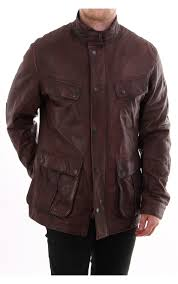 barbour international john leather jacket brown