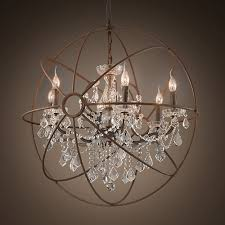 crystal globe chandelier decor