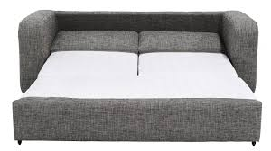 Slat Sofa Bed Modern Design Double Seater Sofa From Foam And Textured Grey  Cotton Finished Unique Pull Out Mechanism Become Comfortable Bed