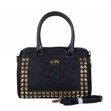 Coach Legacy Haley In Stud Signature Medium Black Satchels BDK Outlet  Clearance Sale