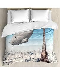 paris duvet cover set french decor paris tower with pillow sham s