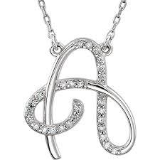 personalized diamond cursive a initial pendant necklace 14k white gold