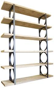 Accessories & Furniture,Attractive Metal And Wood Bookcase With Circle Shelf  On Black Iron Divider