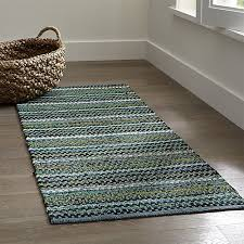 best of rag runner rug pinstripe jade green cotton rag rug crate and barrel