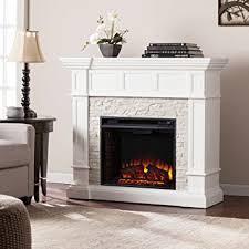 Southern Enterprises Merrimack Corner Electric Fireplace in White