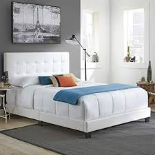 Boyd Sleep Murphy Upholstered Platform Bed Frame with Tufted Headboard: Faux Leather, White, White Beds: Amazon.com