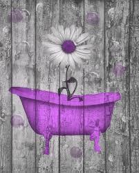 purple daisy flower bubbles rustic home decor purple bathroom wall art picture