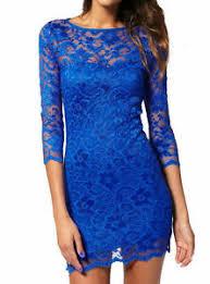 Details About Royal Blue Lace Dress John Zack Slash Neck