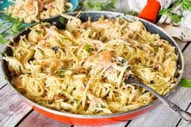 olive garden chicken and shrimp carbonara.  Carbonara Creamy Chicken And Shrimp Carbonara  Tasty Kitchen A Happy Recipe  Community Throughout Olive Garden And I