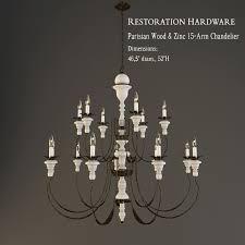 restoration hardware parisian wood and zinc 15 arm chandelier 3d model 3ds mtl tga 1