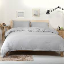 2018 light grey simple duvet cover set knit cotton bedlinens twin queen king bed cover flat fitted sheet pillowcases linens king size duvet cover set duvet
