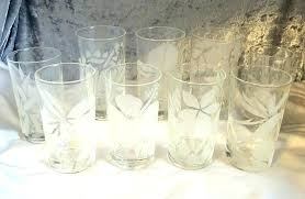 vintage old fashioned glasses etched frank arts tropical fl beverage set of nine in waterford marquis