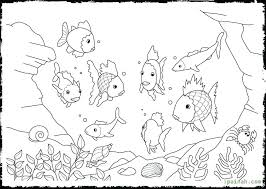 Rainbow Fish Coloring Page Image Colouring Template Poporonco