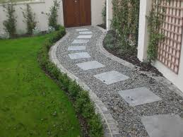 Small Picture Square paving stones in a curving gravel path by a lawn I Dream