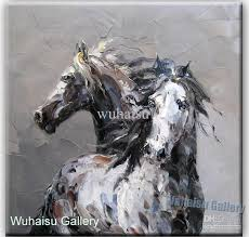 2018 handcraft animal oil painting on canvas two horses abstract 36 from wuhaisu 37 19 dhgate com