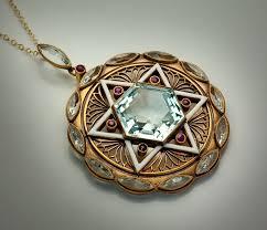 jewish magen david jewelry vintage art deco gold enamel ruby antique star of david necklace