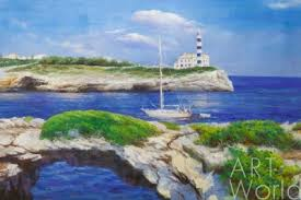 <b>Картина</b> маслом «<b>Морская</b> прогулка у маяка» - DL180105