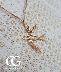 victorian style 9ct rose gold diamond swallow bird necklace