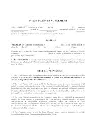 Event Planning Services Agreement Wedding Coordinator Contract Template