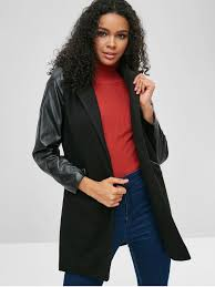 contrasting faux leather sleeve faux wool coat black l