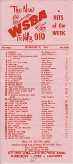 Charts 1961 Wsba Pennsylvania Sept 1961 In 2019 Music Charts