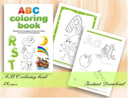 Abc Coloring Book Alphabet Coloring Pages For Preschool And Etsy