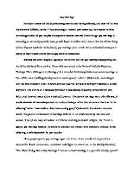 this essay will therefore attempt to assess the changes in the  gay marriage persuasive essay