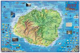 map kauai dive map laminated  by frankos maps ltd
