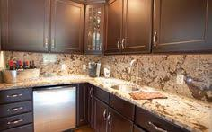 Kitchen countertop and backsplash ideas Mosaic The Granite Backsplash Creates An Illusion Of More Space Kitchen Countertop Materials Kitchen Backsplash Pinterest 30 Best Granite Backsplashes Images Modern Kitchens Kitchen