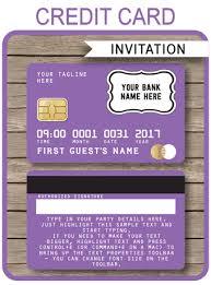 Credit Card Party Invitations Purple Credit Card Invitations Mall Scavenger Hunt Invitations