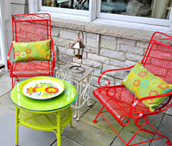 colorful metal patio chair
