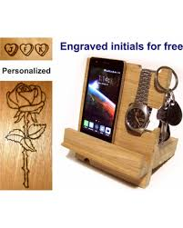 Docking station wood Phone stand Nightstand organizer wooden Charging  station organizer iPhone holder Phone holder Desk
