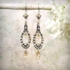 ethereal champagne crystal earrings romantic chandelier earrings ivory pearl earrings boho wedding jewelry victorian edwardian teardrop
