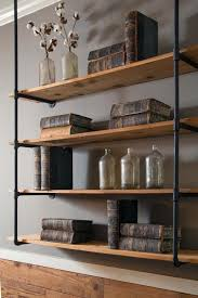 hanging wall bookshelves living room rustic mount wooden shelves with