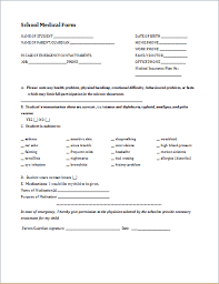 Student Medical History Form Template Printable Medical