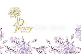 Business Cards Design Template With Purple Peony Flowers On